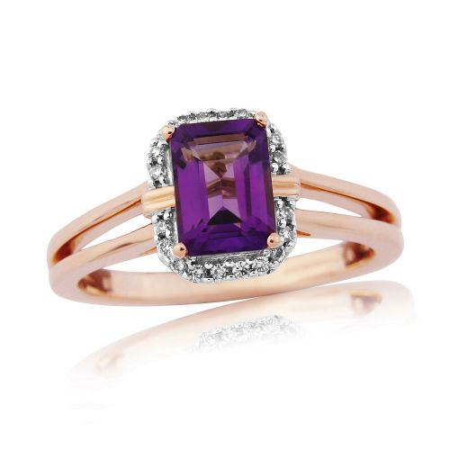 Octaganal Cut Amethyst And Diamond 9 Carat Rose Gold Cluster Ring